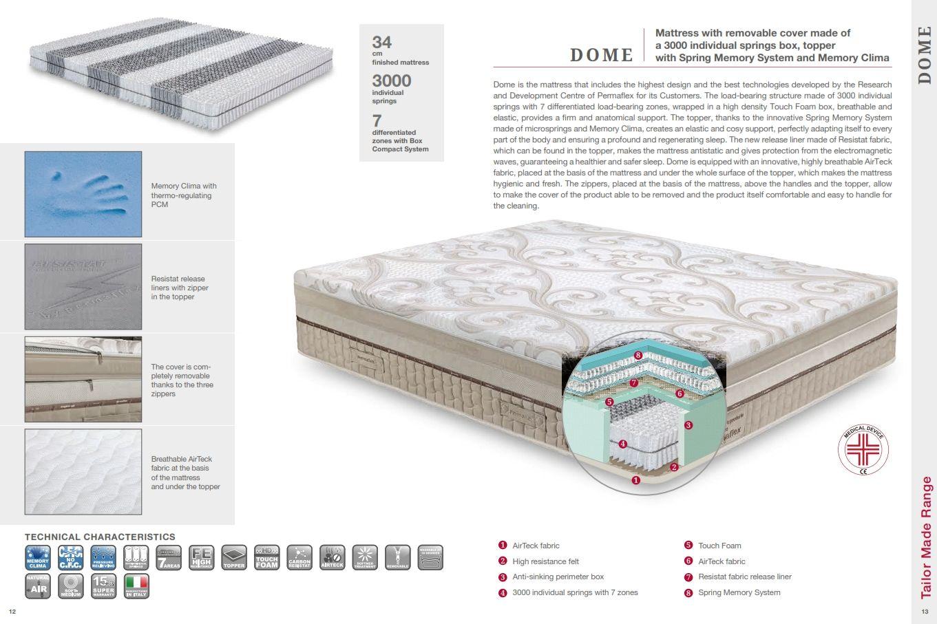 luxus matratzen permaflex matratze deluxe dome seriedie m bel aus italien. Black Bedroom Furniture Sets. Home Design Ideas