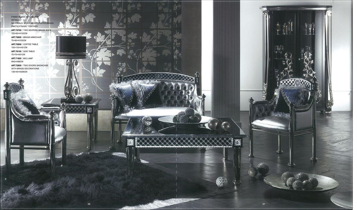 Versace Living Room Furniture Esf Versace Black Living Room Set Slick Furniture Store Versace