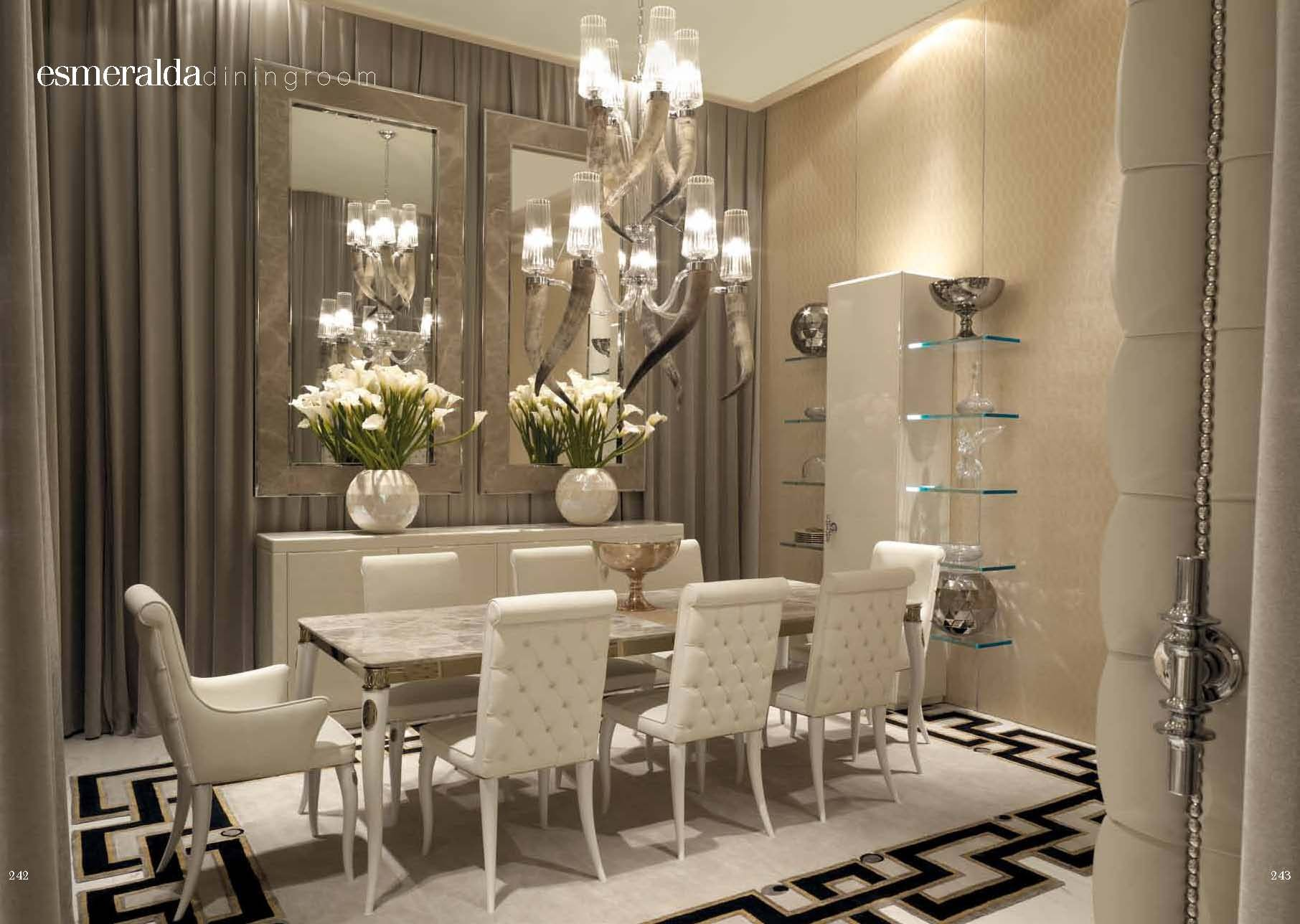 Luxurious furniture dining table cavalli esmeralda for Beautiful dining room ideas